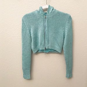 One girl who metallic cropped sweater hoodie